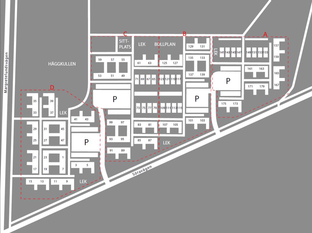 Områdeskarta för Söra Södra Samfällighet